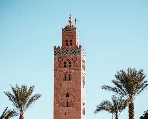 Le minaret de la Mosquée Koutoubia à Marrakech au Maroc
